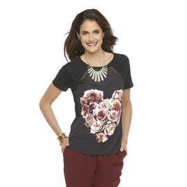 Metaphor Women's Mixed Media Graphic T-Shirt - Rose Print at Sears.com