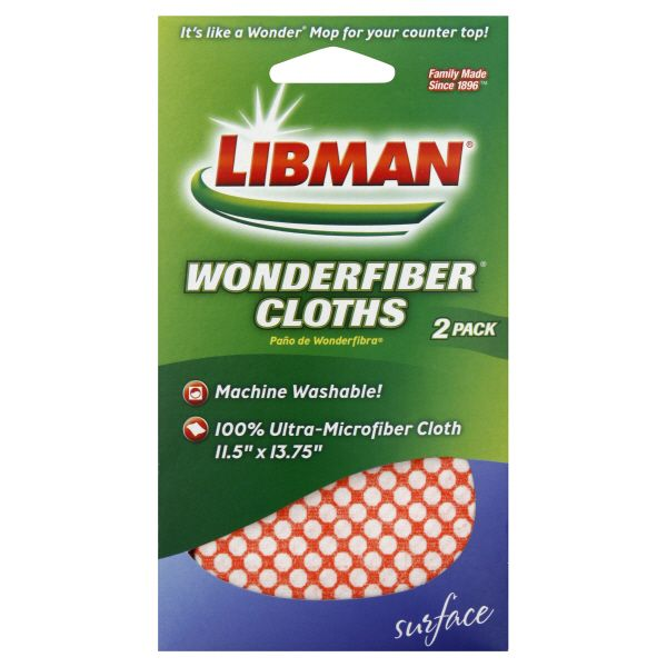 Libman  Wonderfiber Cloths, 2 pack