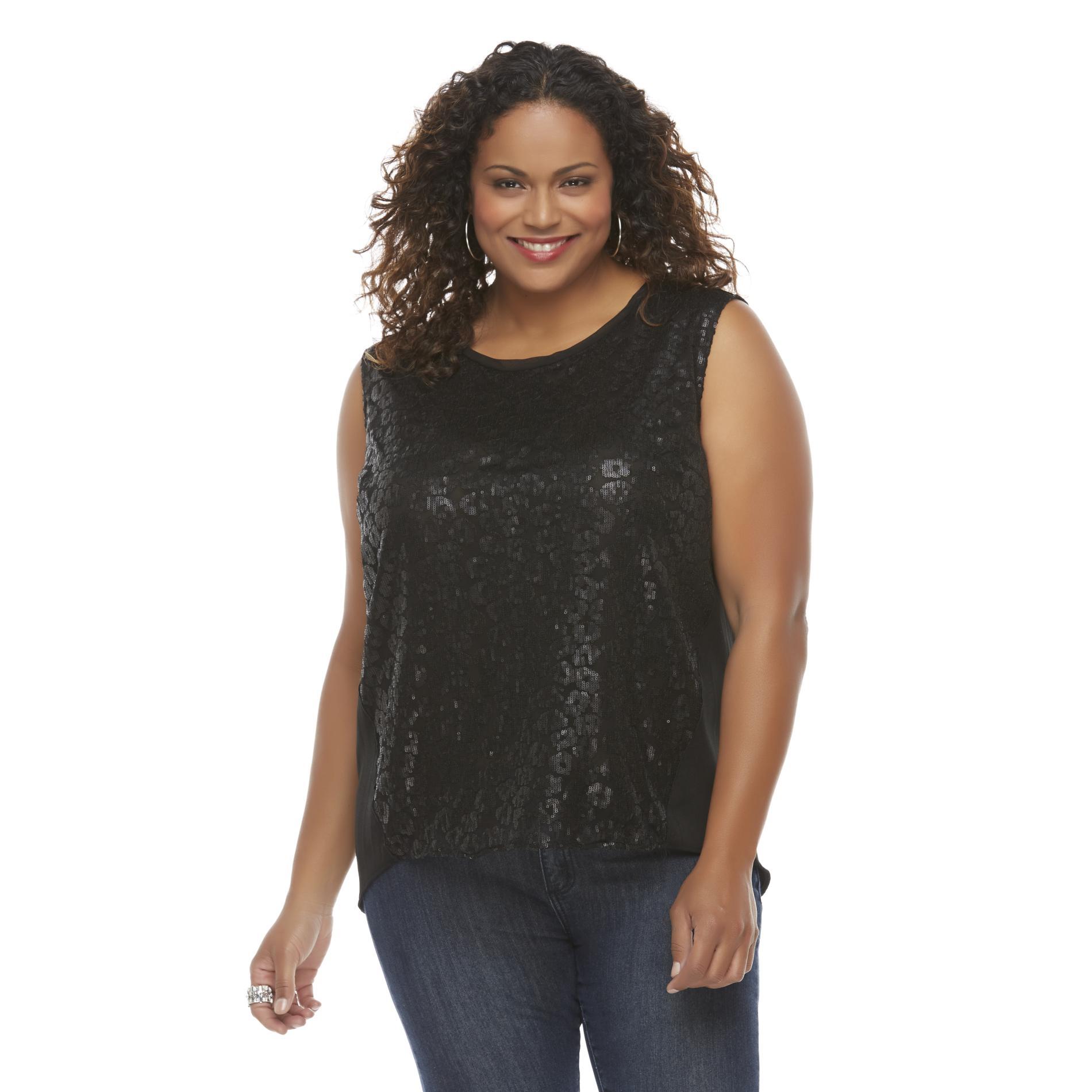 Covington Women's Plus Sequin Tank Top - Leopard Print