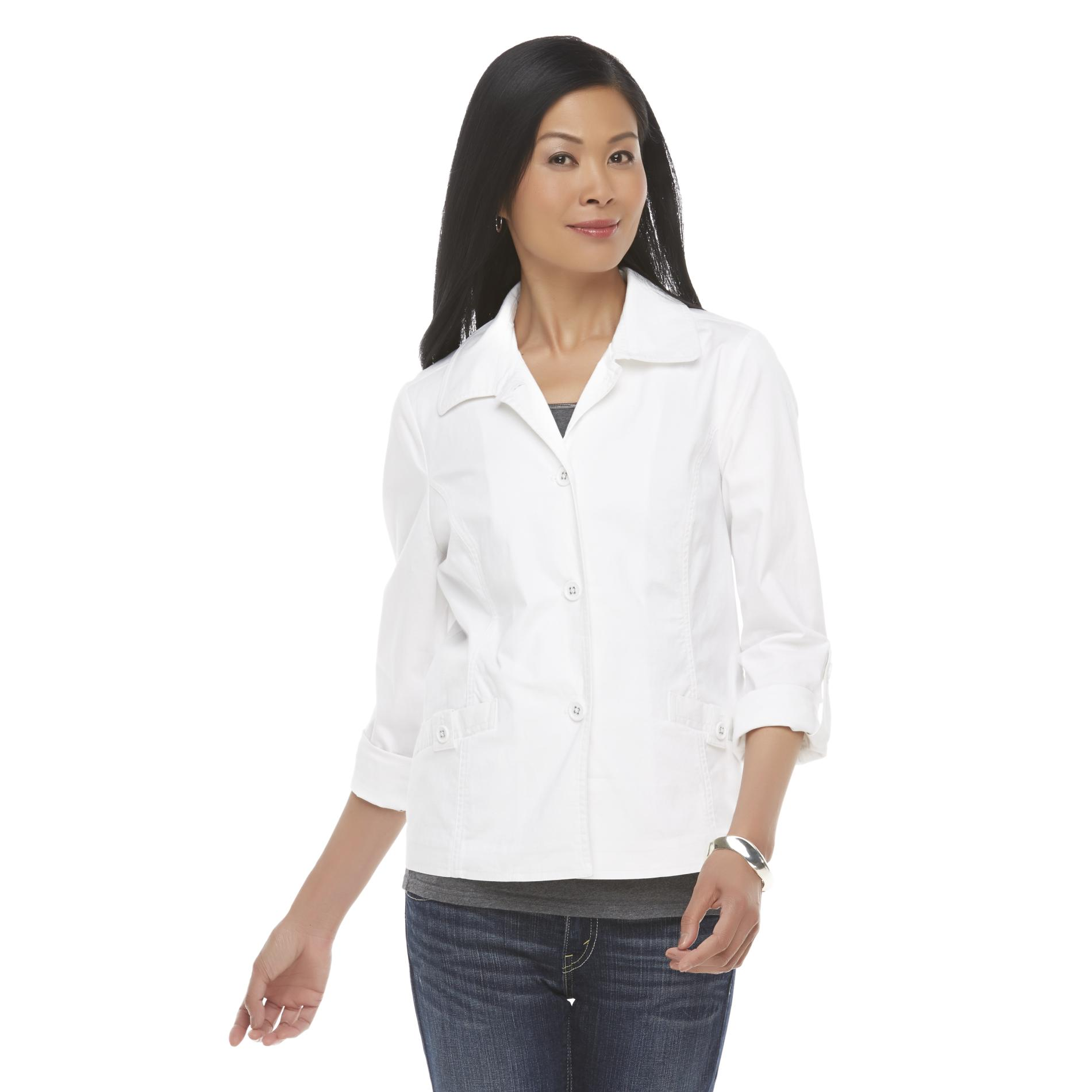 Basic Editions Women's Twill Button-Front Jacket at Kmart.com
