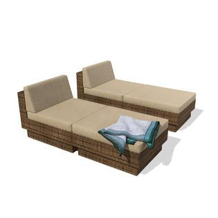 Sonax Park Terrace Saddle Strap Weave 4 Piece Lounger Patio Seating Set