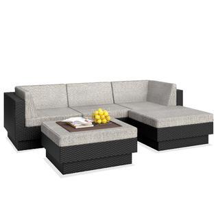 Sonax Park Terrace Textured Black 5 Piece Double Armrest Sectional Patio Seating Set