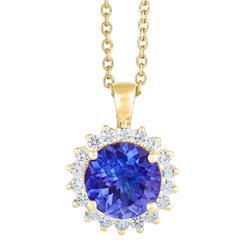 New York City Diamond District 14k yellow gold 10mm round tanzanite with 5/8 cttw diamond halo pendant at Kmart.com