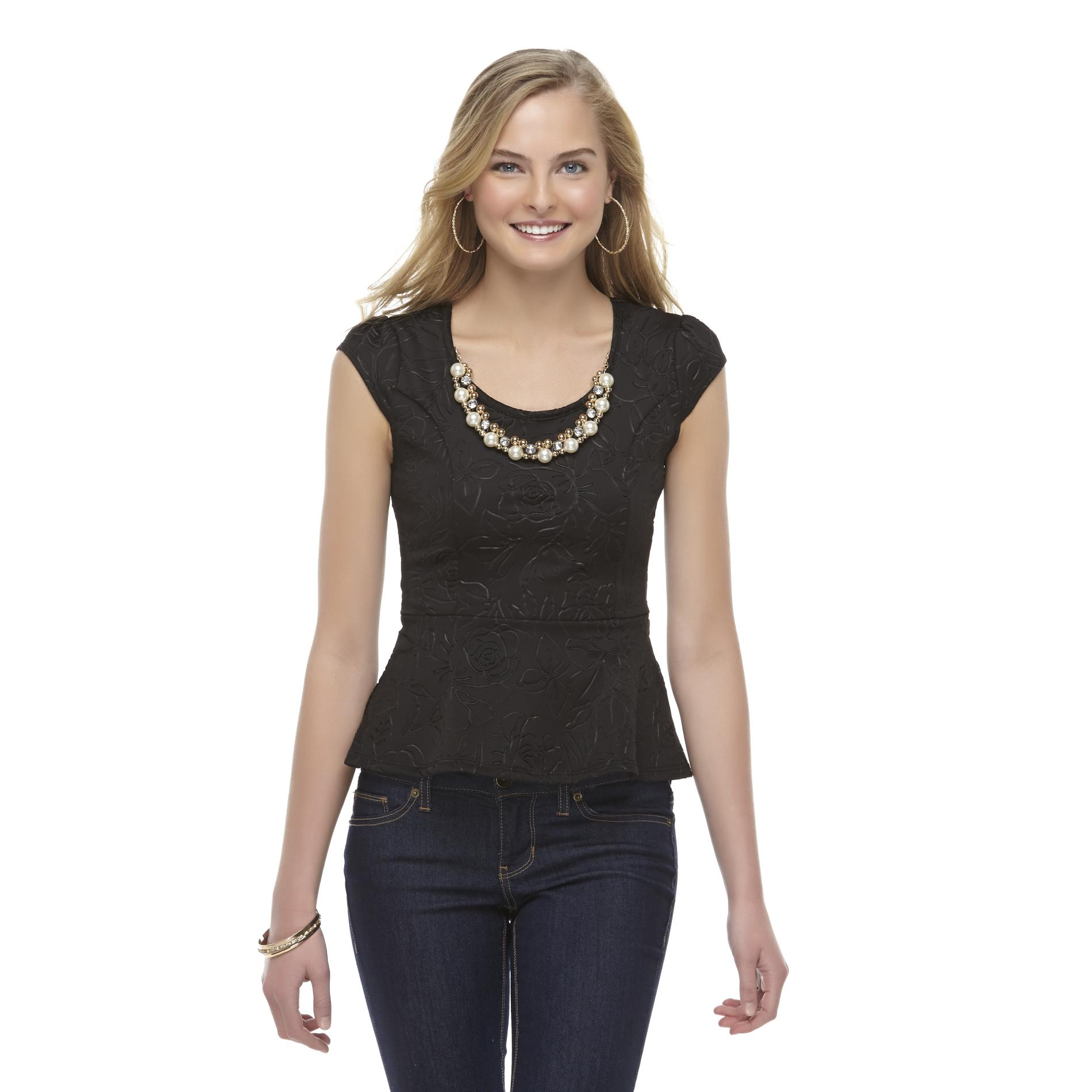 Bongo Junior's Necklace Peplum Top - Floral at Sears.com