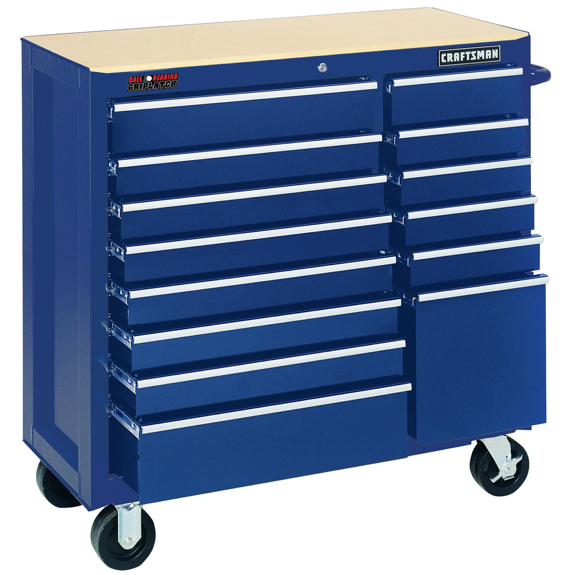 "Craftsman 40"""" Wide 14-Drawer Ball-Bearing GRIPLATCH Rolling Cabinet - Midnight Blue"