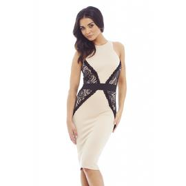AX Paris Women's Lace Side Illusion Midi Nude Dress - Online Exclusive at Kmart.com