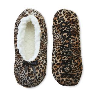 Joe Boxer Women's Fleece Gripper Slippers - Cheetah Print