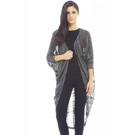 AX Paris Women's Metallic Thread Knitted Chocolate Kimono - Online Exclusive at Kmart.com