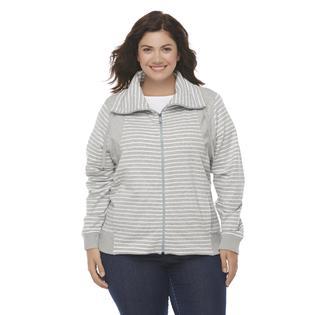 Laura Scott Women's Plus French Terry Jacket - Striped