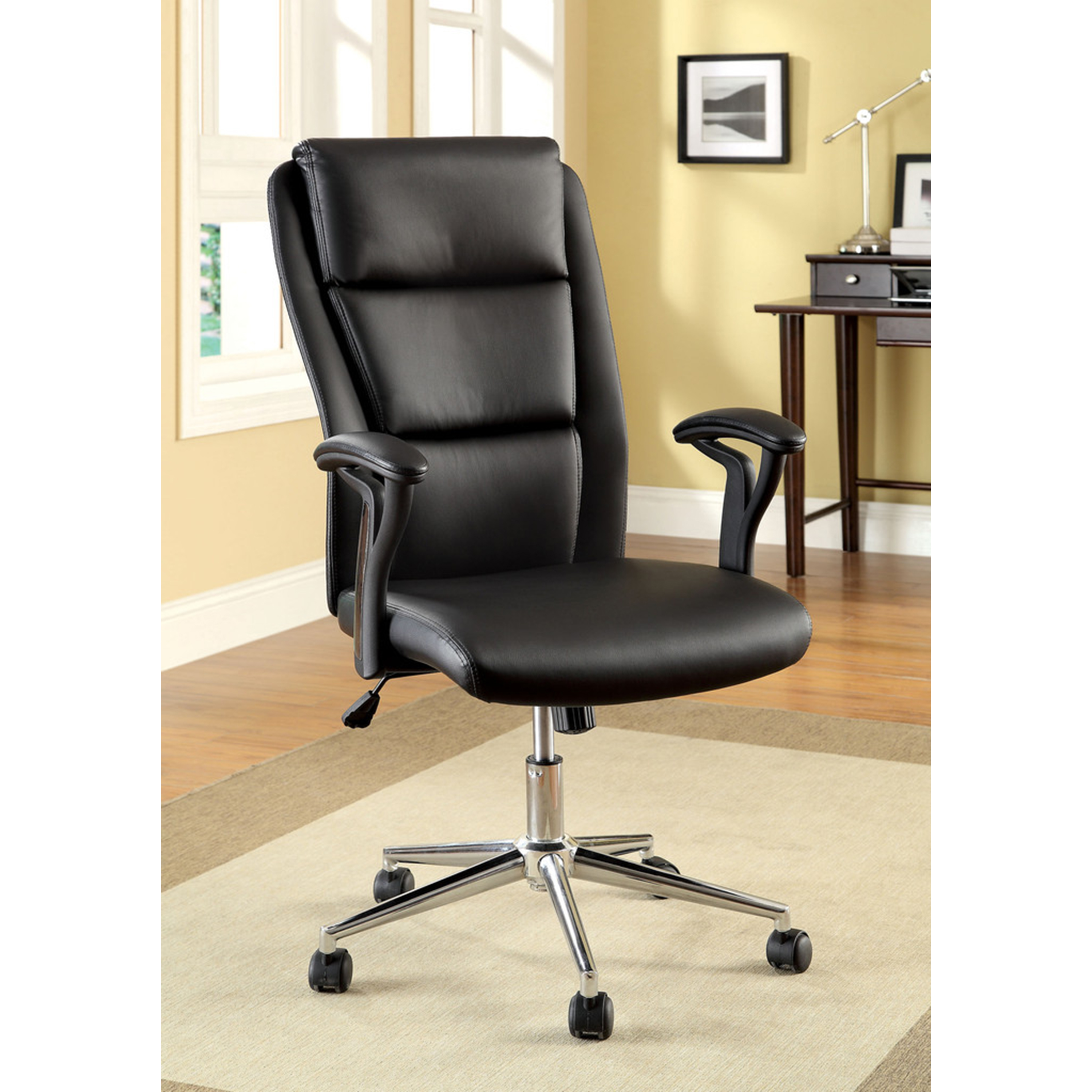 dagsboro leatherette office chair in black