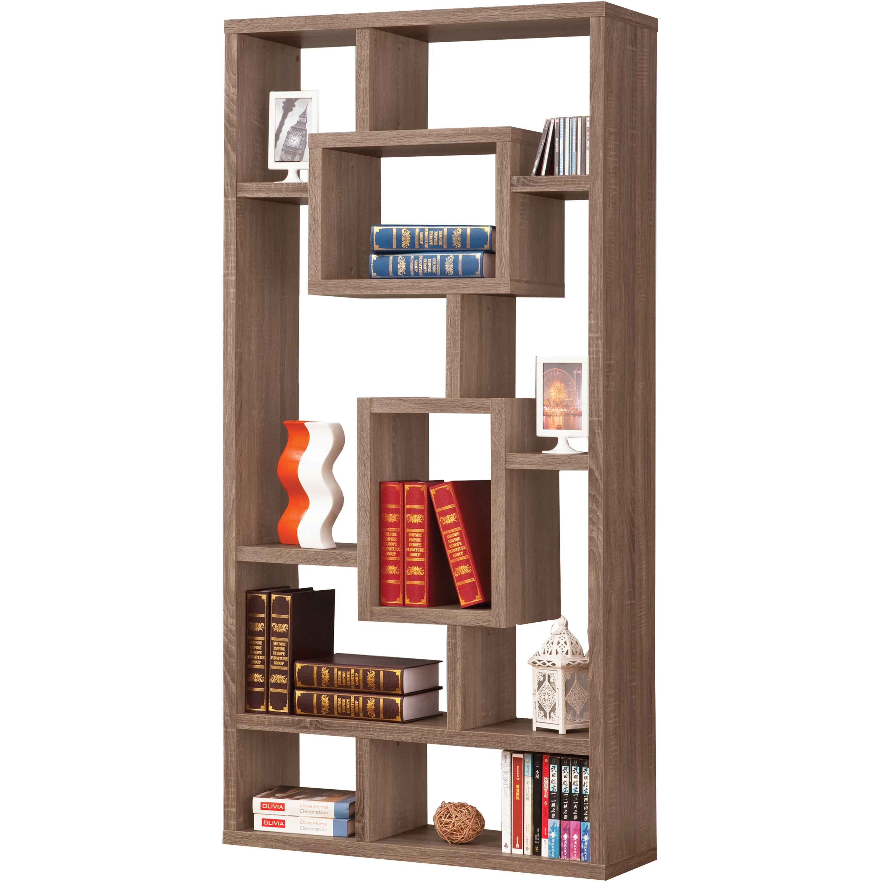 Venetian Worldwide Maguire Bookcase in Weathered Brown Finish