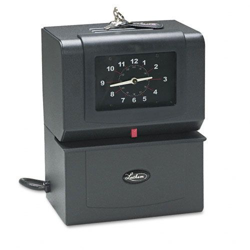 Lathem Time Automatic Model Heavy-Duty Time Recorder, Gray