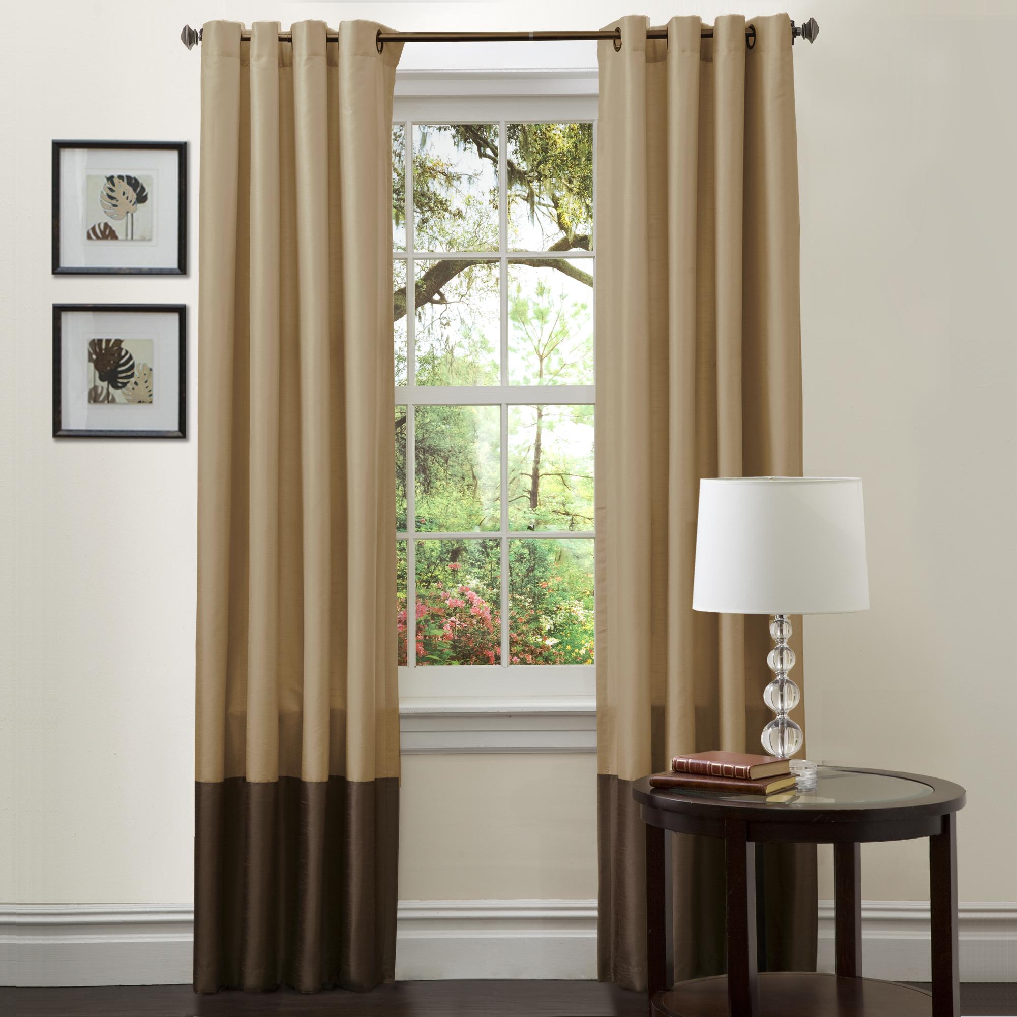 Lush Decor Prima Taupe Chocolate Window Curtains Pair 54 X 108