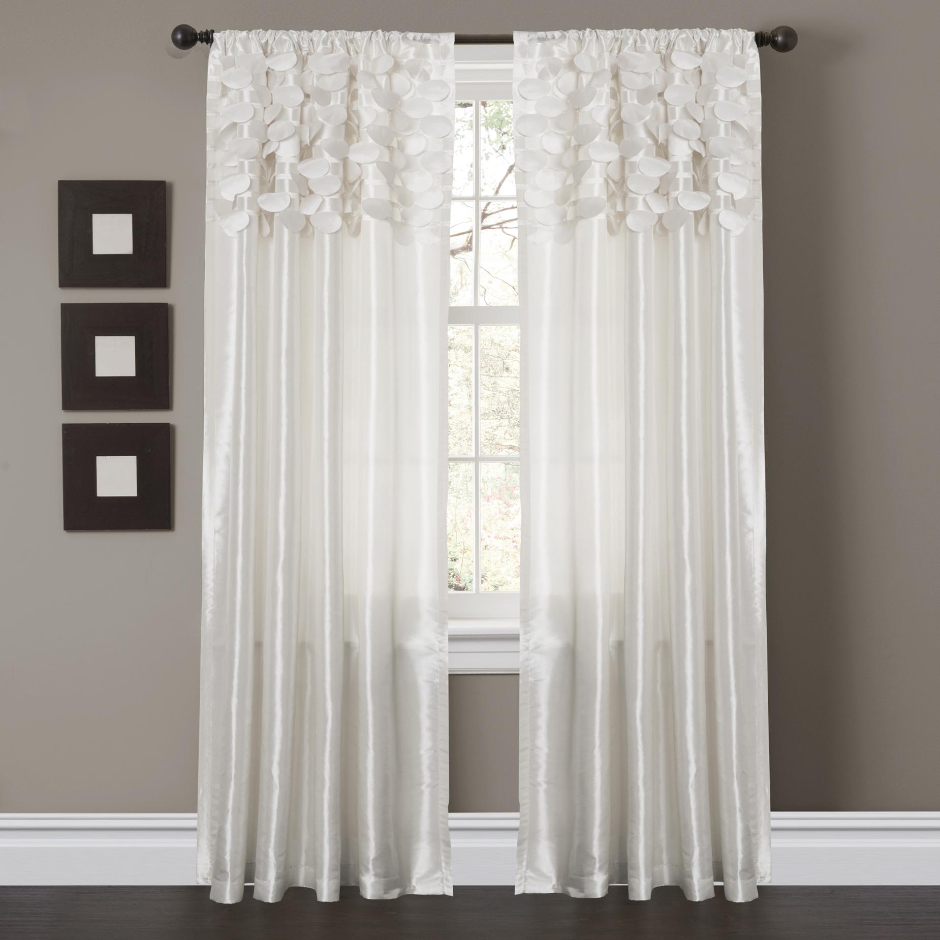 Circle Dream White Window Curtains (Pair)