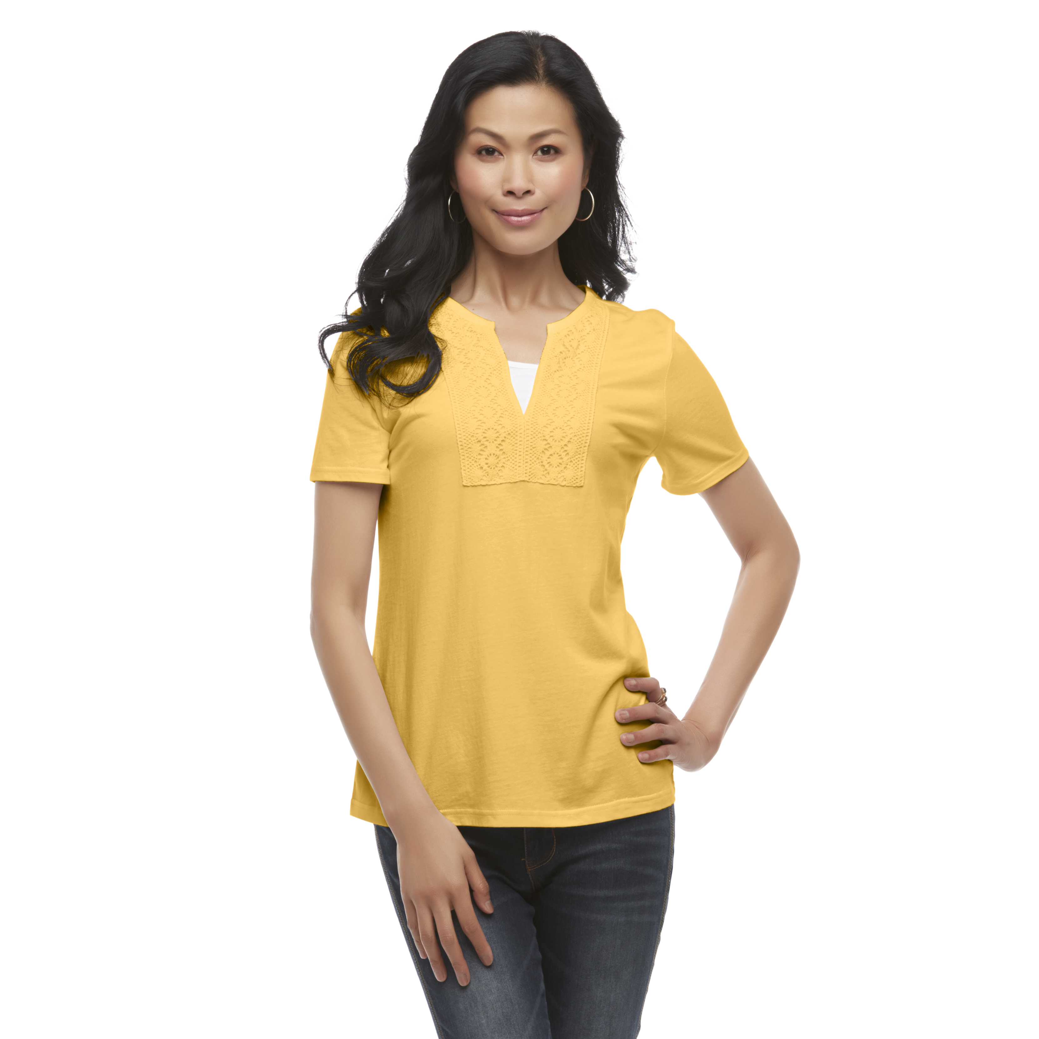 Basic Editions Women's Layered-Look Crocheted V-Neck T-Shirt