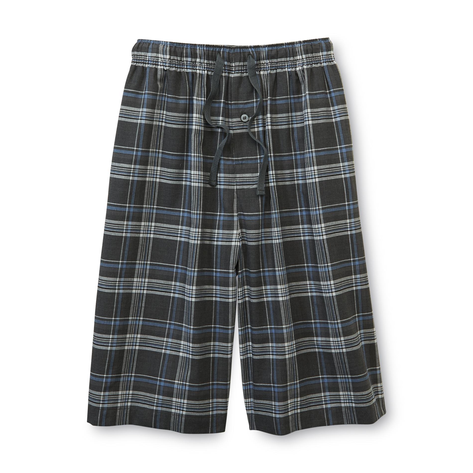 Basic Editions Men's Poplin Pajama Shorts - Plaid