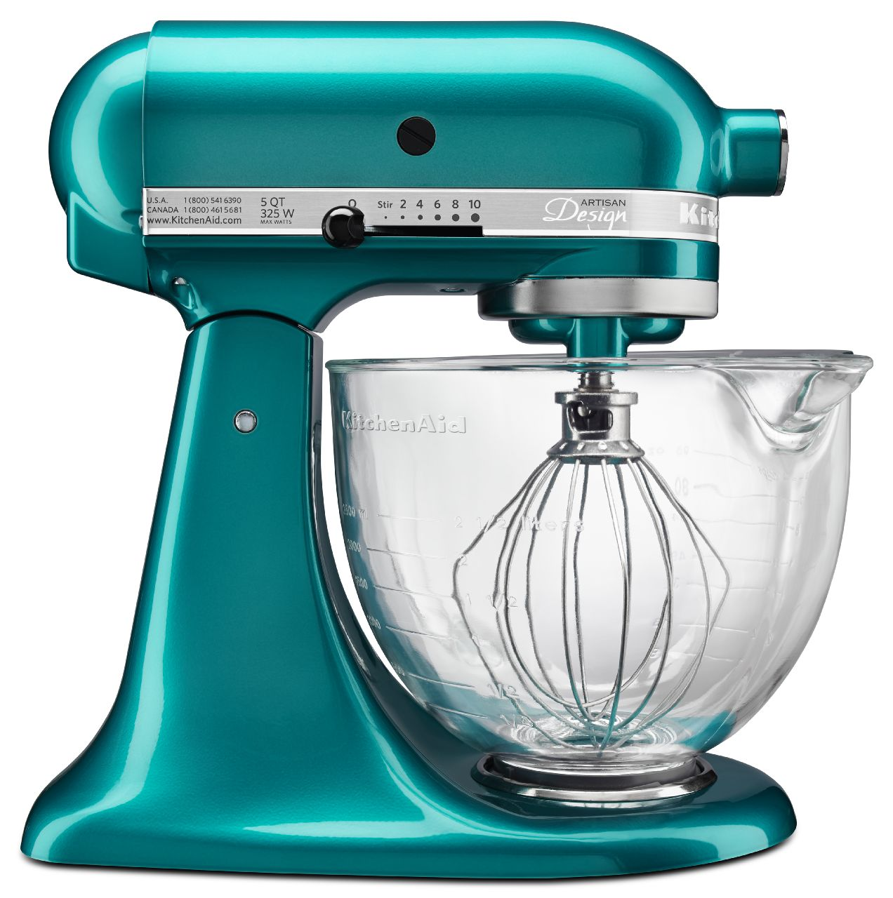 Bon KitchenAid KSM155GBSA Artisan Design Series Sea Glass 5 Quart Stand Mixer  With Glass Bowl