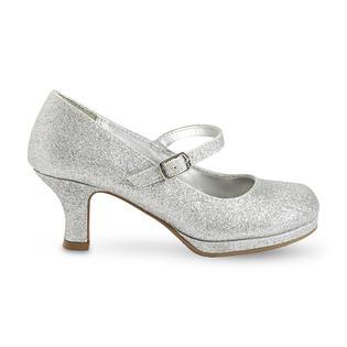 4c143e35d9a8 Delicious Girl s Twirl Silver Glitter Mary Jane Pump