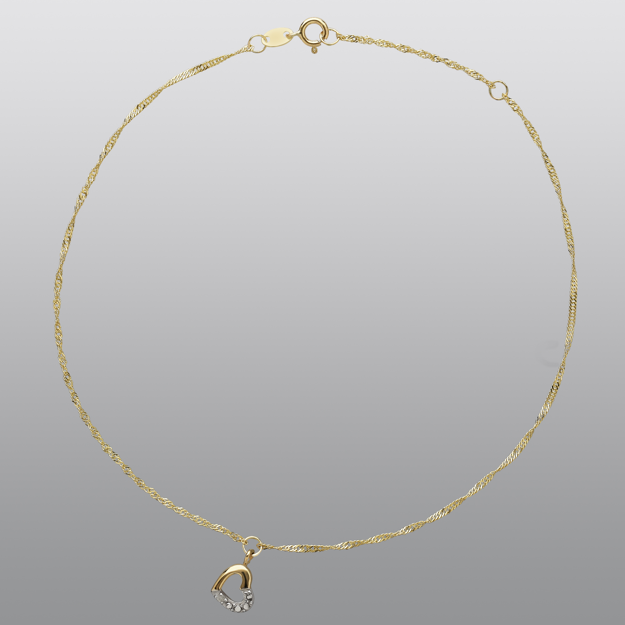 10KY Diamond Accent Open Heart Singapore Anklet in 10 Inches