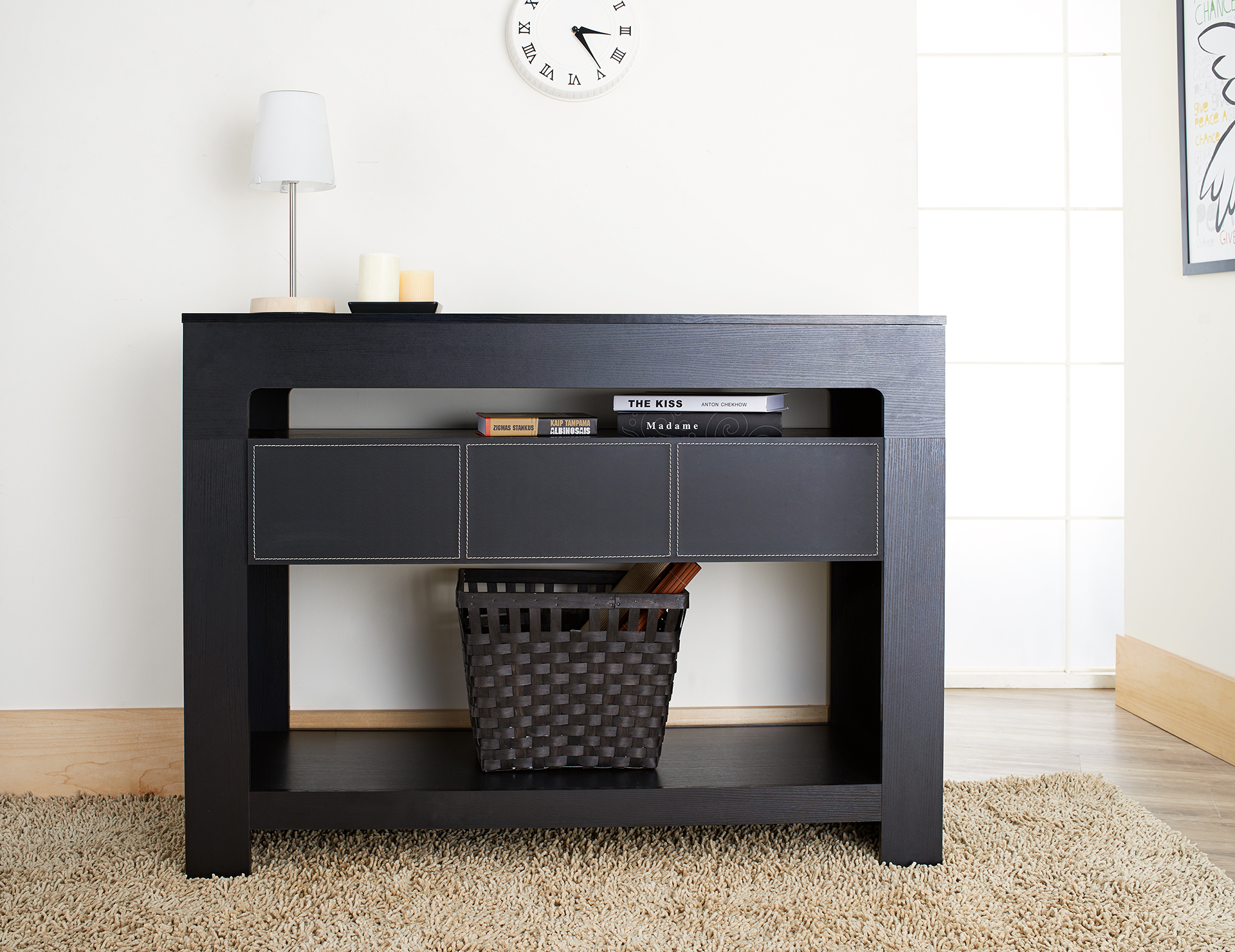 Furniture of America Oryan Black Storage Console Table