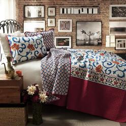 lush decor scroll flower 3pc bluered quilt