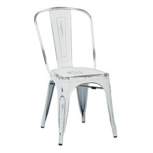 OSP Designs Bristow Armless Chair, Antique White Finish, 4 Pack