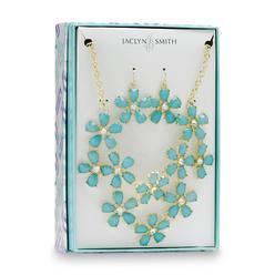 Jaclyn Smith Women's Goldtone & Rhinestone Bib Necklace & Earrings - Floral at Kmart.com