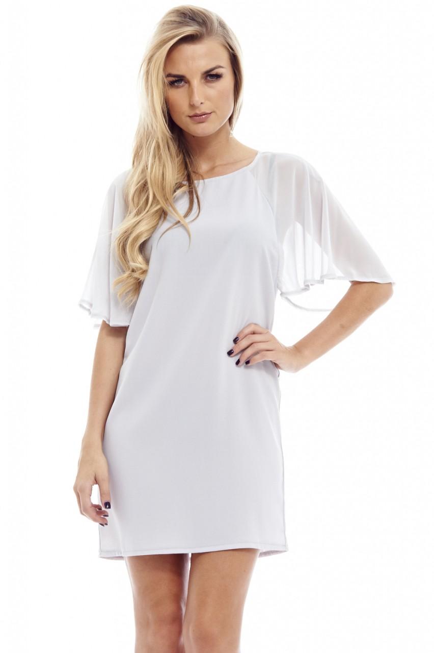 AX Paris Women's Chiffon Sleeve Smock Silver Dress - Online Exclusive PartNumber: 3ZZVA79242512P MfgPartNumber: D1671SIL-X1904