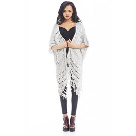 AX Paris Women's Crochet Fringe  Grey Cardigan- Online Exclusive at Kmart.com