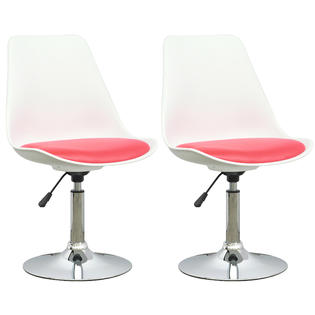 CorLiving White Adjustable Chair with Red Leatherette Seat, set of 2