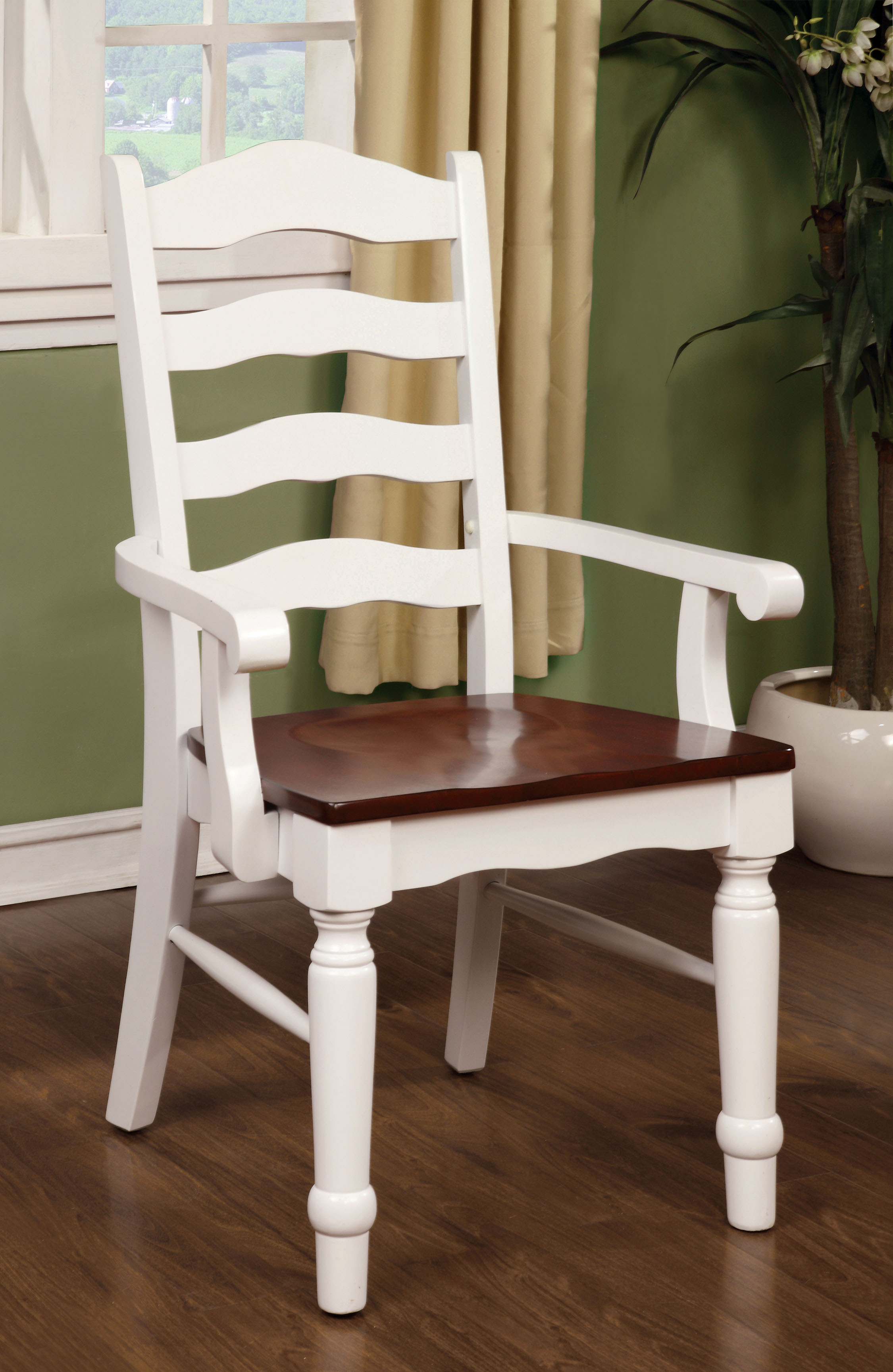 Furniture of America Lamberts Cottage Cherry and Cream White Arm Chair (Set of 2)