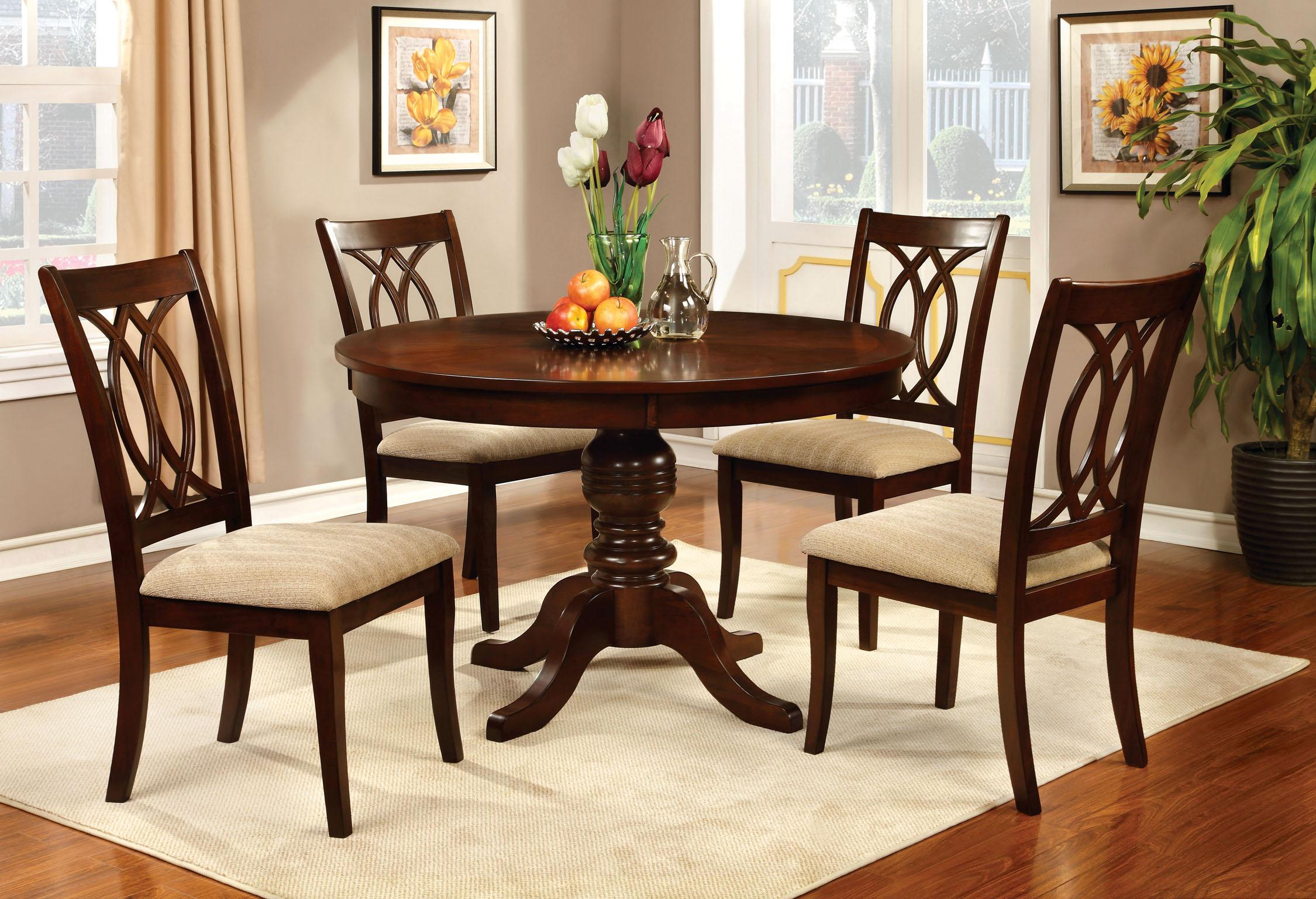 furniture of america brennan 5-piece round brown cherry dining set