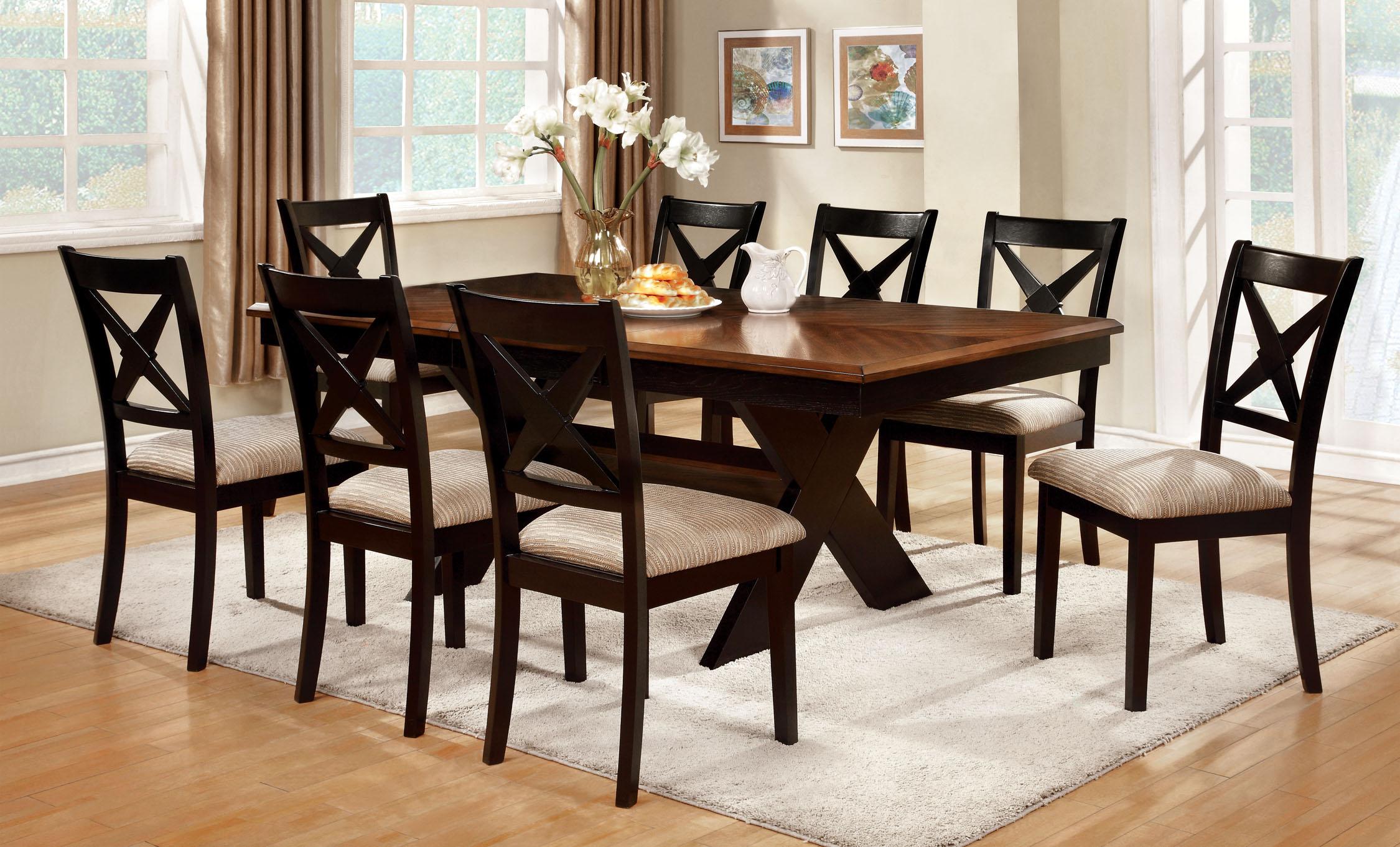 Furniture of America Cresanka 9-Piece Dark Oak and Black Dining Set