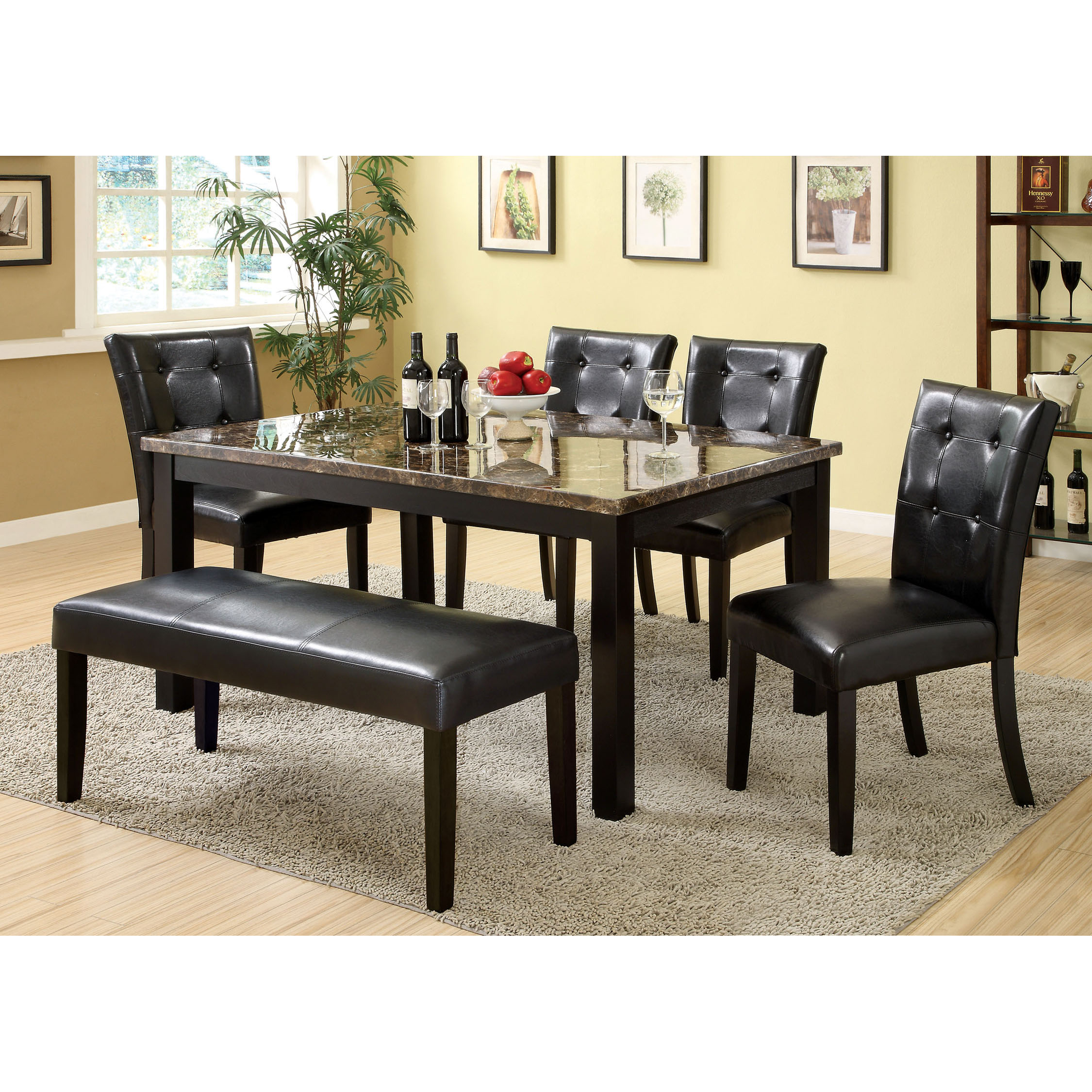 Furniture Of America Benning Heights 6 Piece Faux Marble Dining Set With  Bench