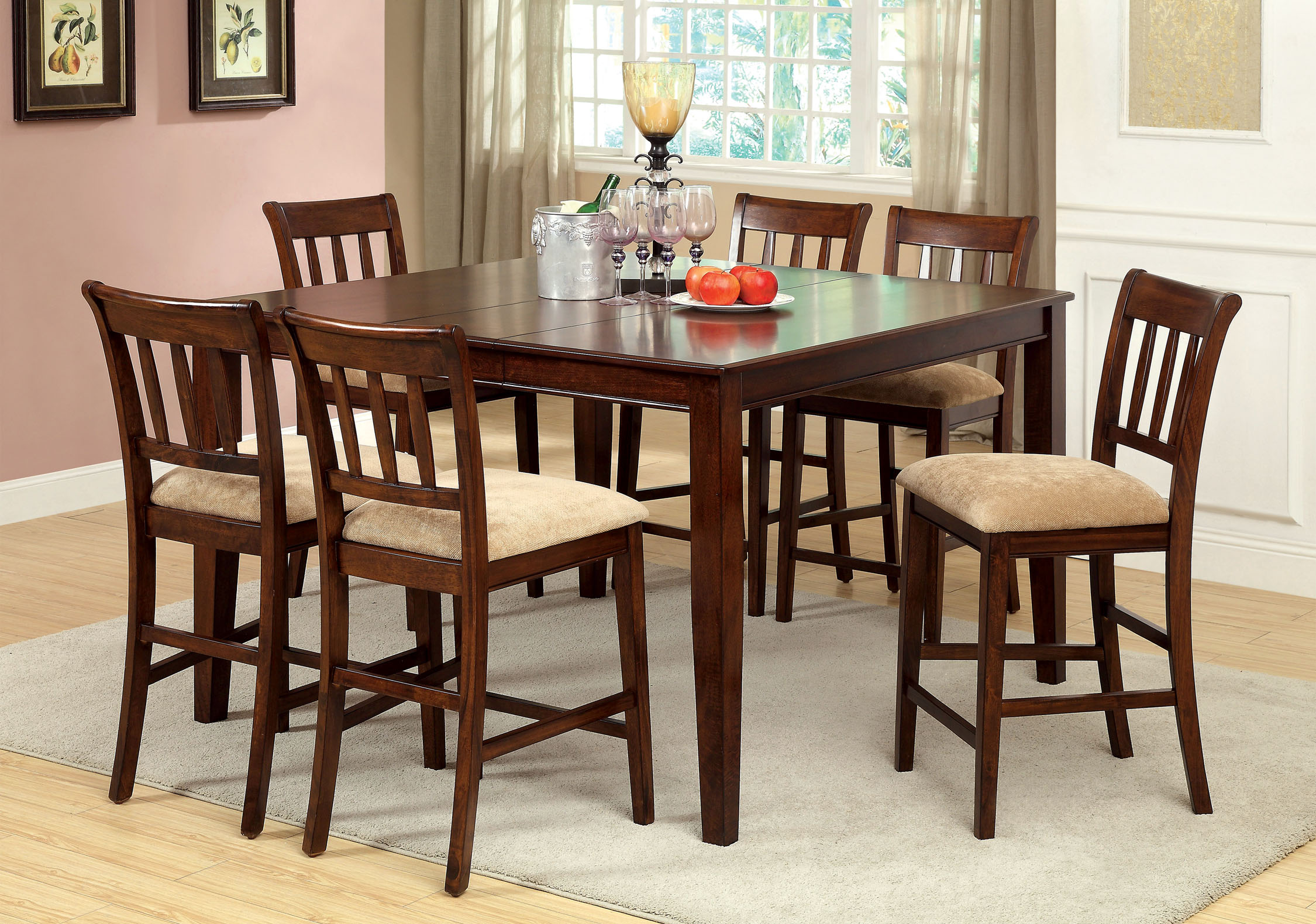 Furniture of America Cookes 7-Piece Counter Height Dining Set