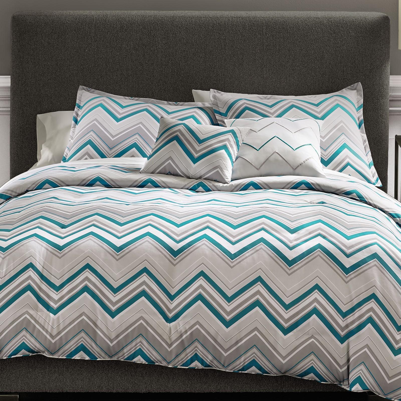 5-Piece Metaphor True Chevron Bed Set Grey/Teal