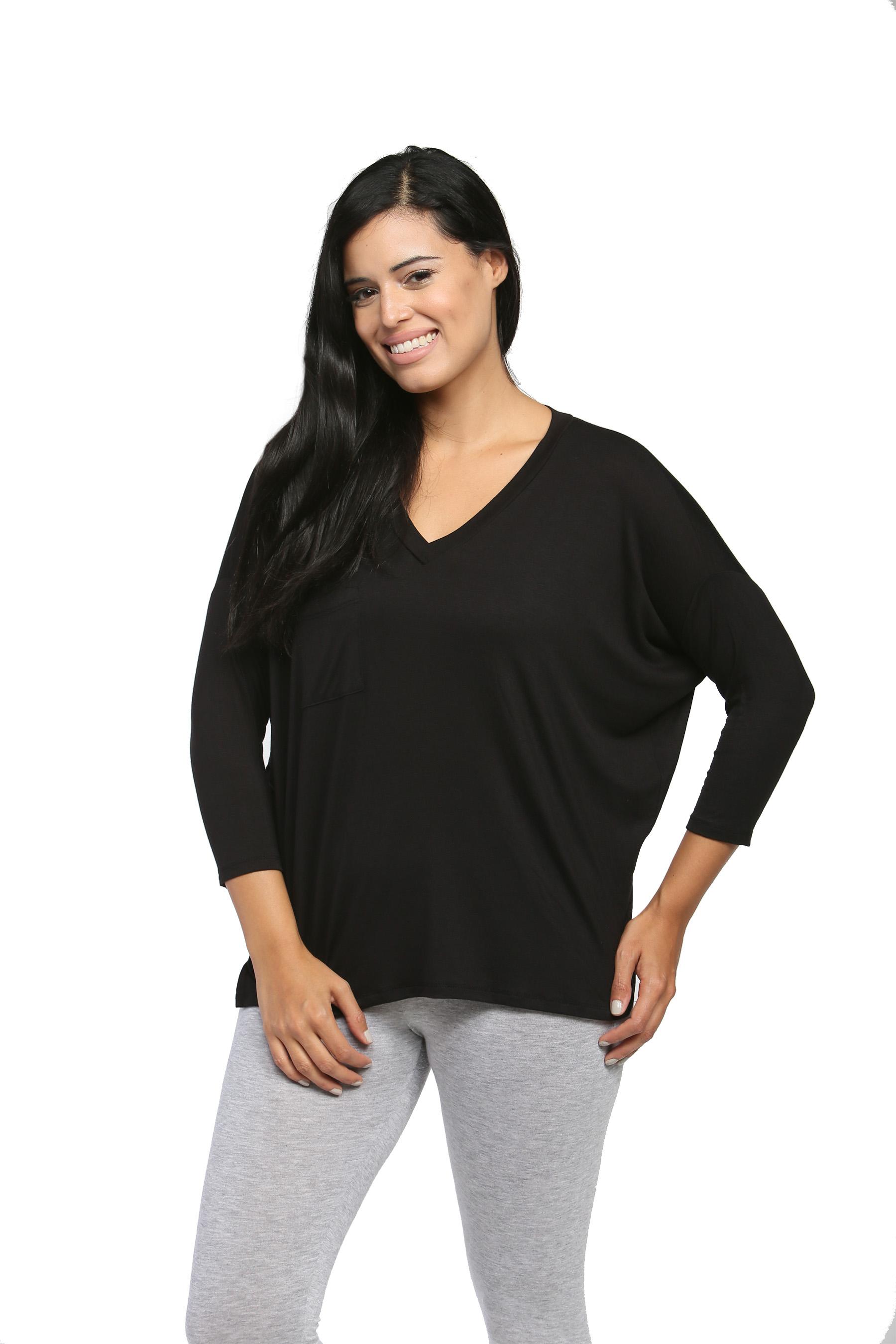 24/7 Comfort Apparel Women's Oversized Dolman Top PartNumber: 3ZZVA79320512P MfgPartNumber: CF270-BLACK