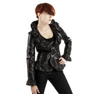 UNITED FACE Womens Lambskin Ruffle Leather Jacket at Sears.com
