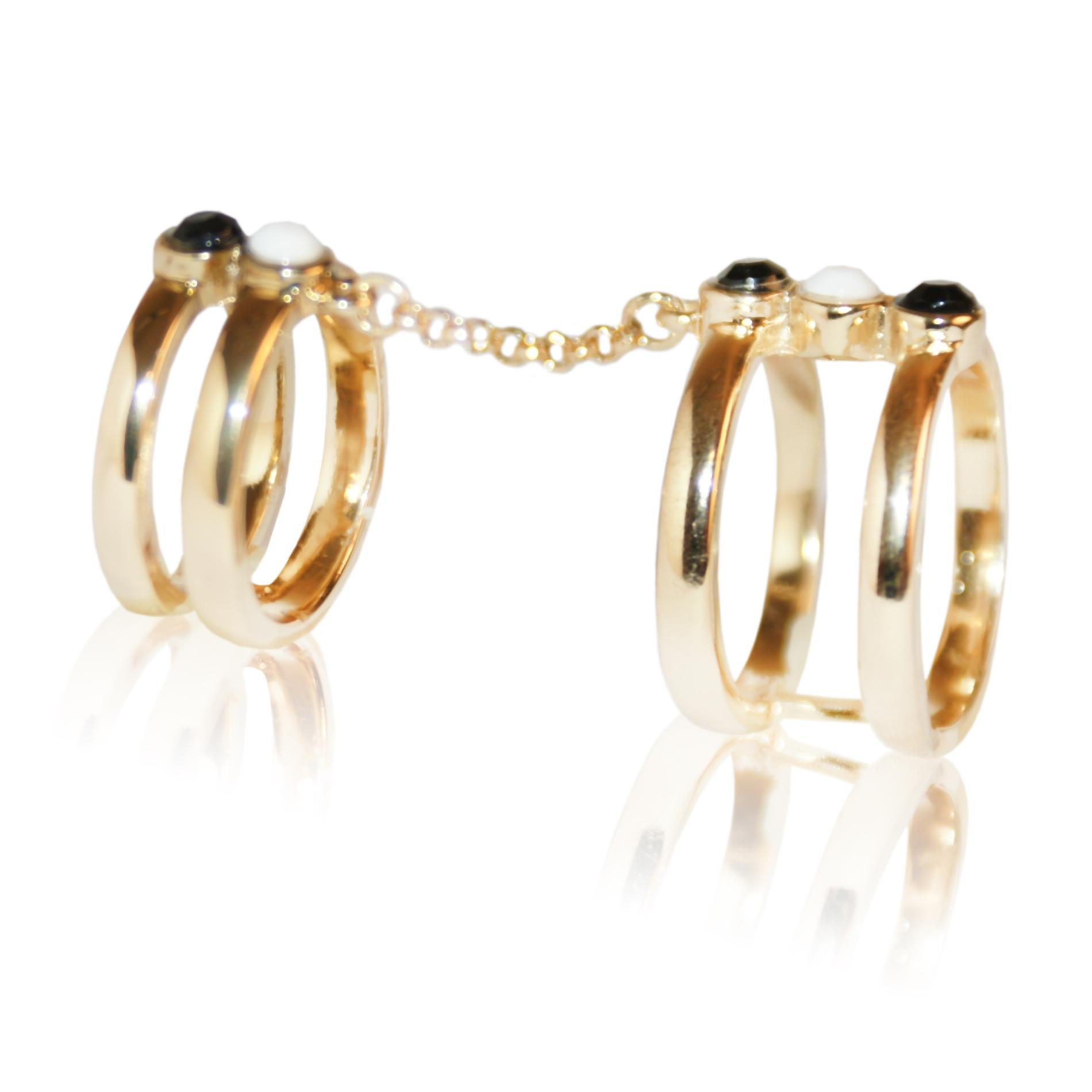 Women's Goldtone Beaded Double Chain Ring
