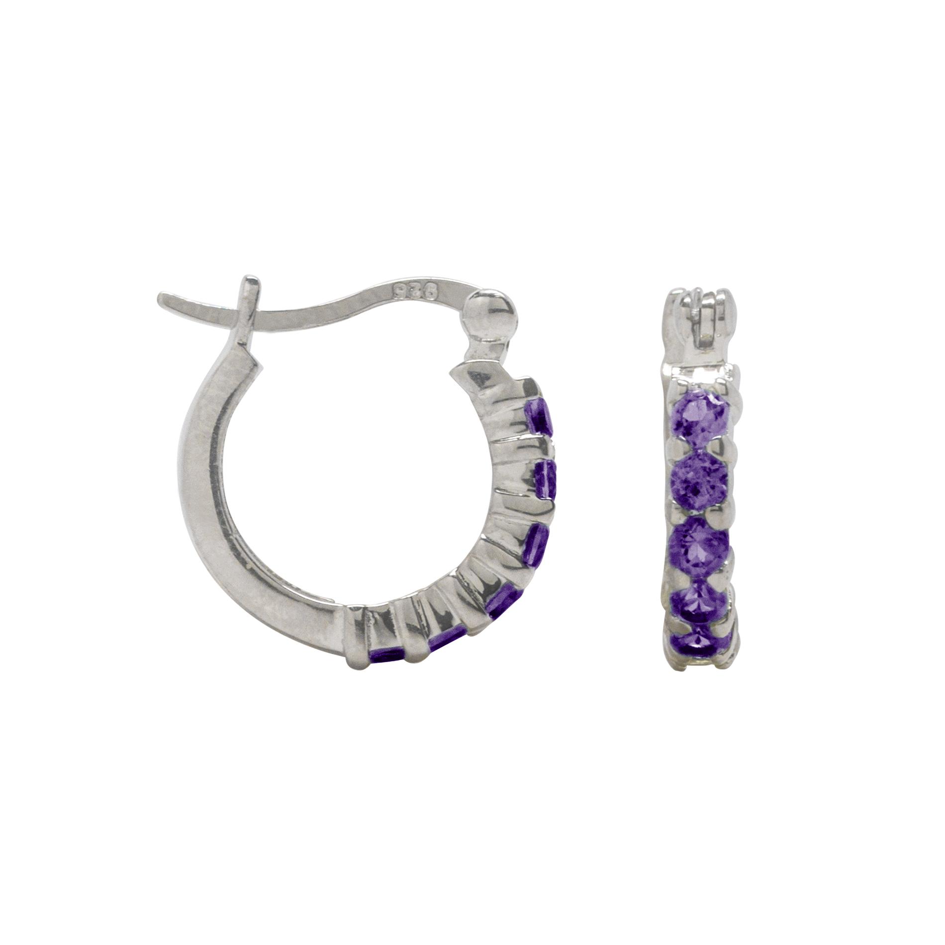 2.5mm Round Genuine Amethyst Hoop Earrings Sterling Silver