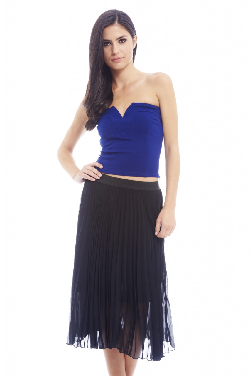 AX Paris Women's Pleated Chiffon A Line Black Skirt - Online Exclusive PartNumber: 027VA79392812P MfgPartNumber: SK121BLK-P1404