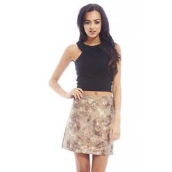 AX Paris Women's Metallic A Line Mini Gold Skirt - Online Exclusive at Kmart.com
