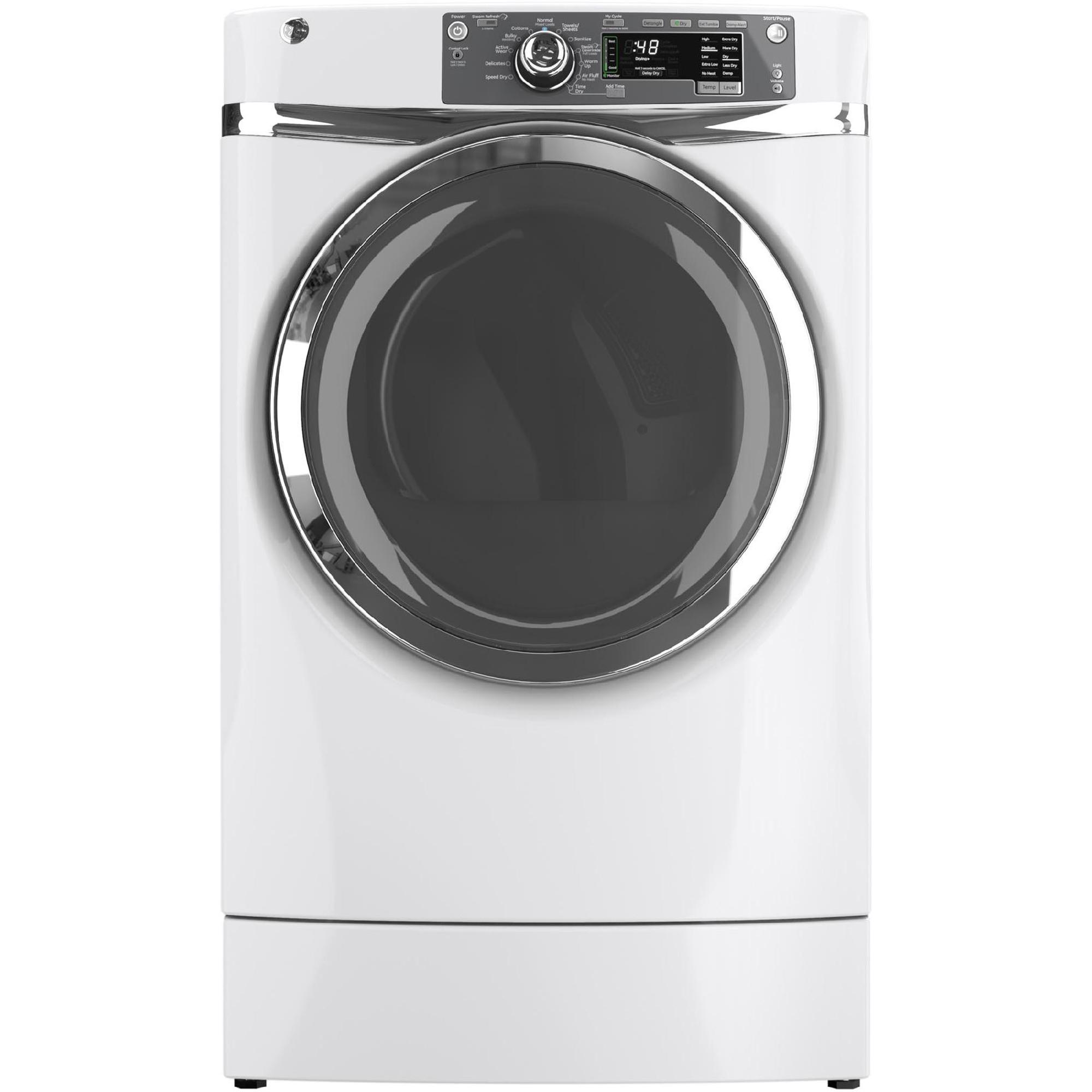 GE Appliances GFDR480GFWW 8.3 cu. ft. RightHeight™ Design Gas Dryer w/ Steam - White