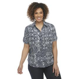 Erika Women's Plus Camp Shirt - Tribal Print at Sears.com