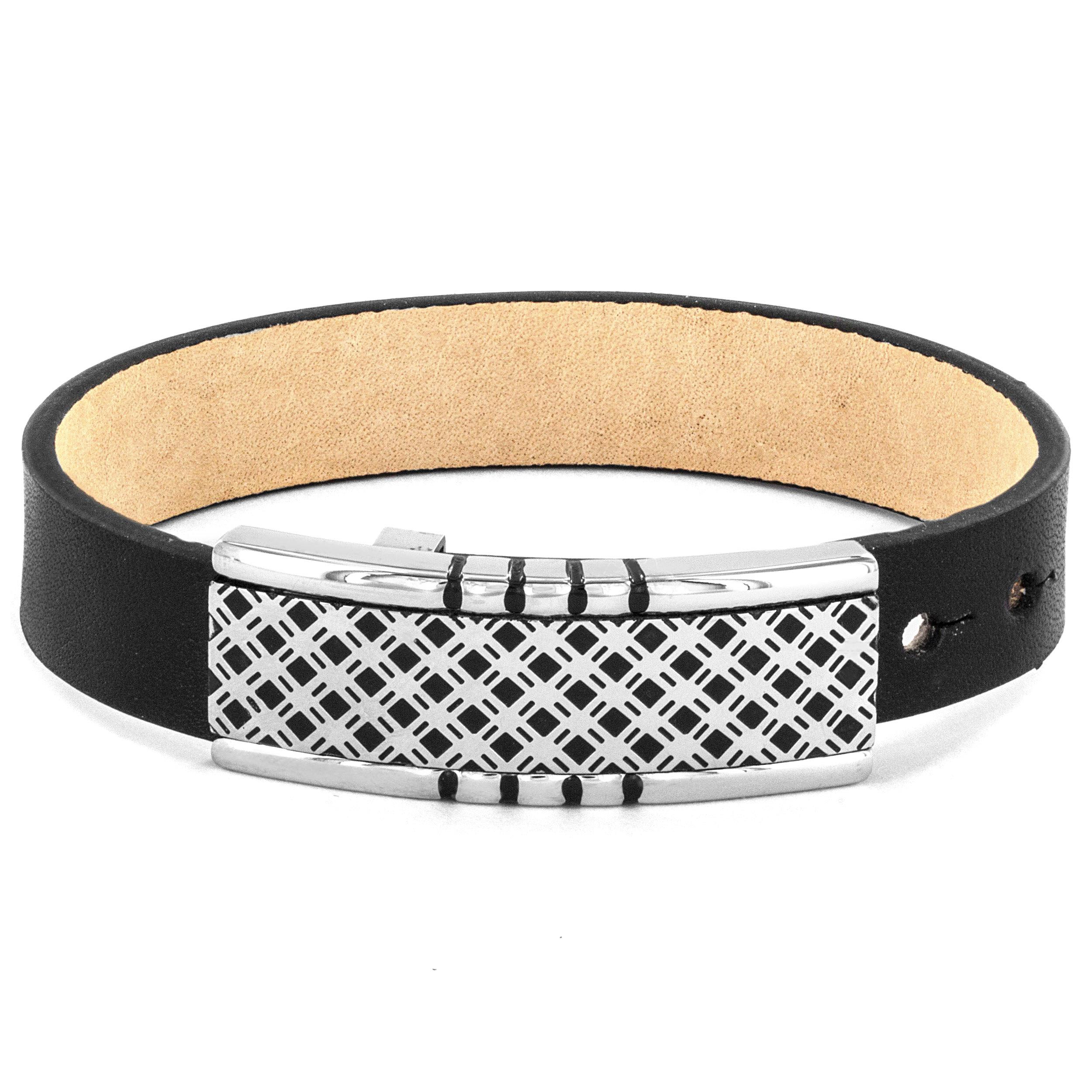 Crucible Black Leather and Lattice Buckle Bracelet, Men's