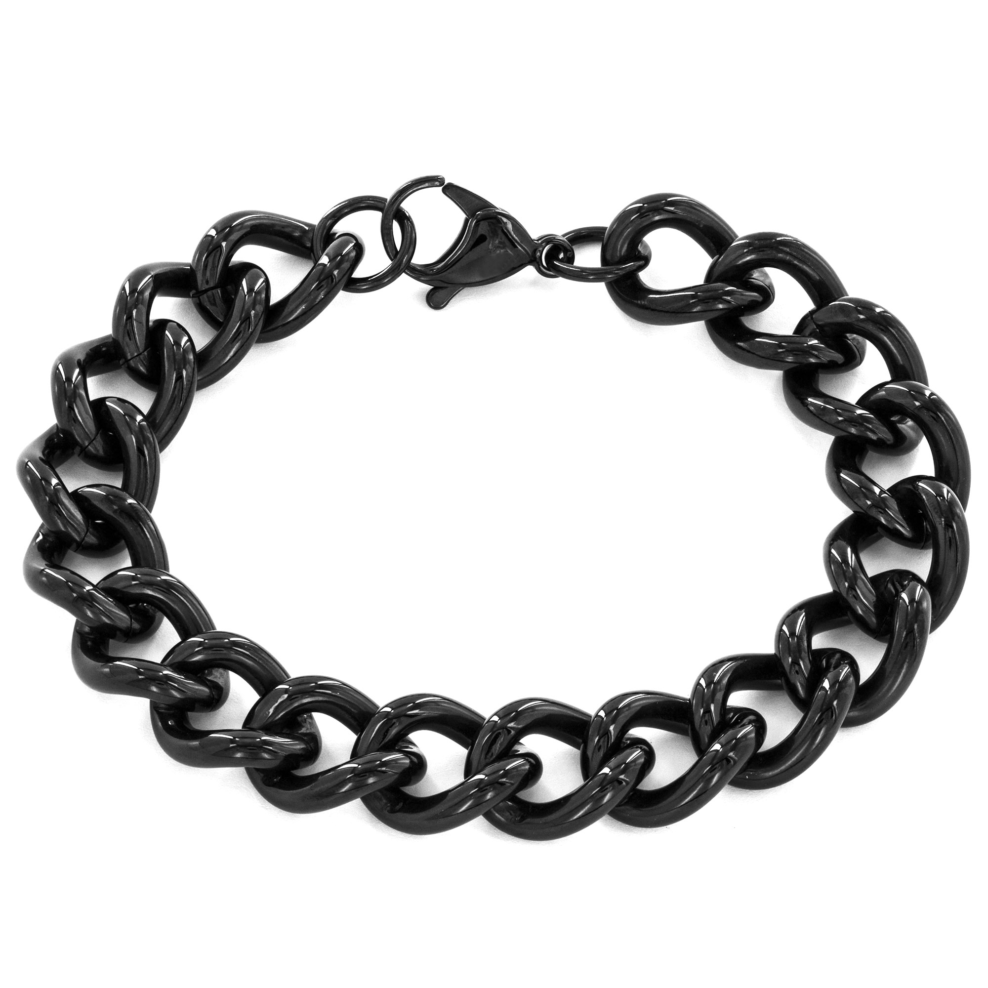 Crucible Black Plated Stainless Steel Classic Curb Link Bracelet