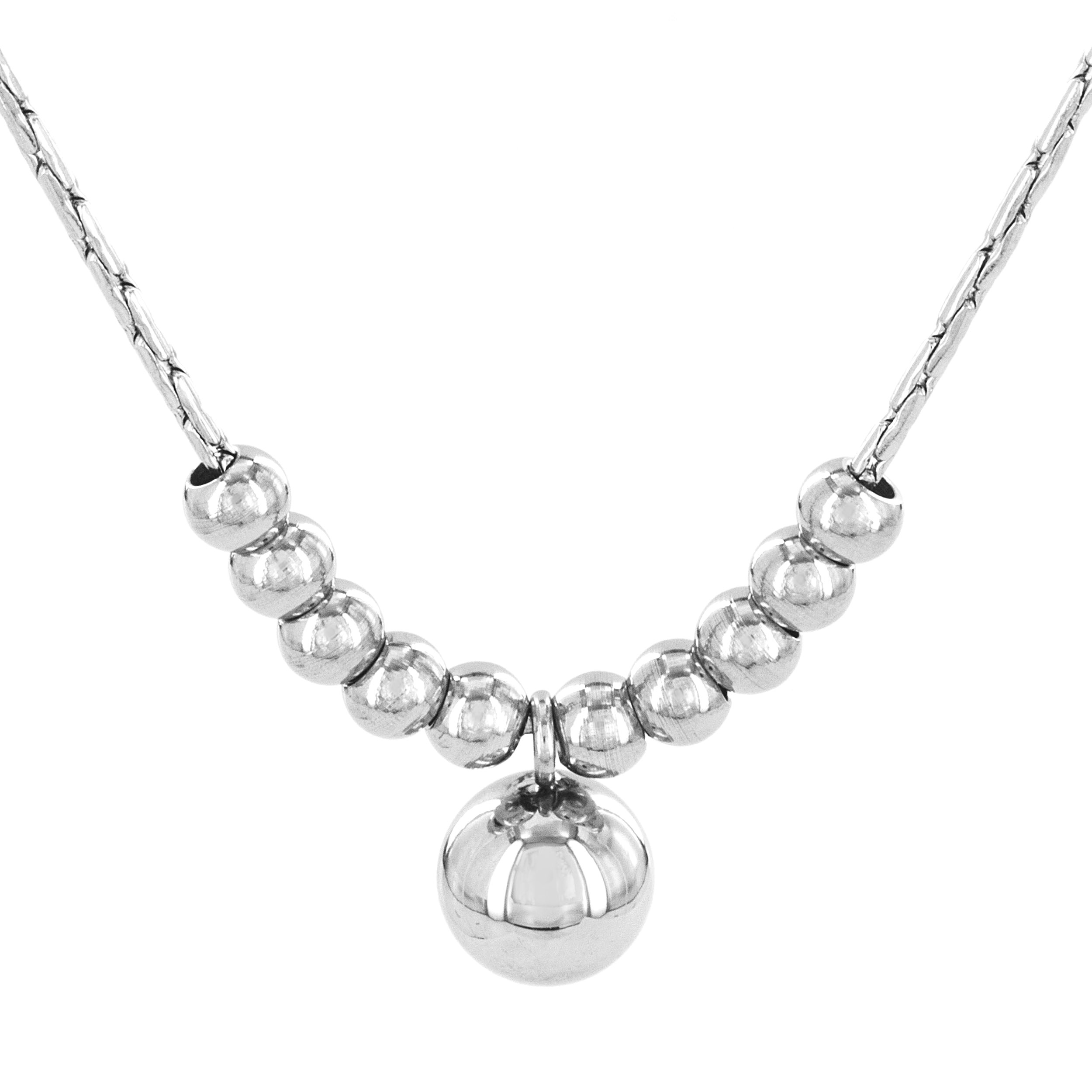 Stainless Steel Polished Sphere Beads Pendant Necklace