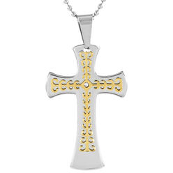 West Coast Jewelry Men's Gold Plated Stainless Steel Cubic Zirconia Layer Cross Pendant Necklace at Kmart.com