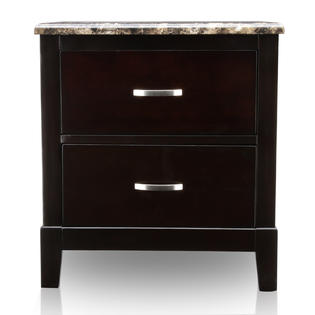 Furniture of America Polak Dark Cherry 2-Drawer Nightstand with Faux Marble Top