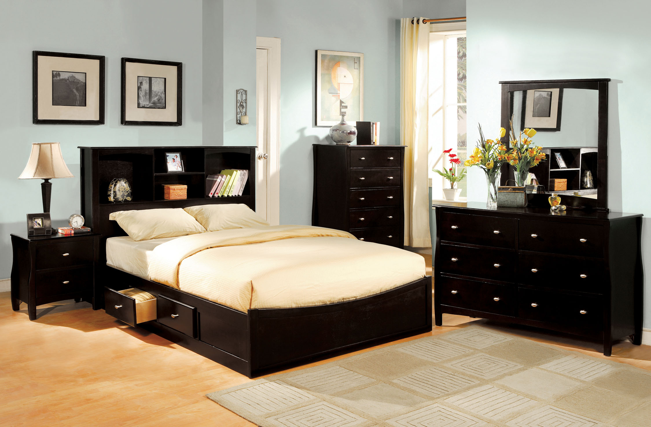 Furniture of America Earle Espresso Bed with Bookcase Headboard